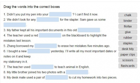 School objects vocabulary online quiz