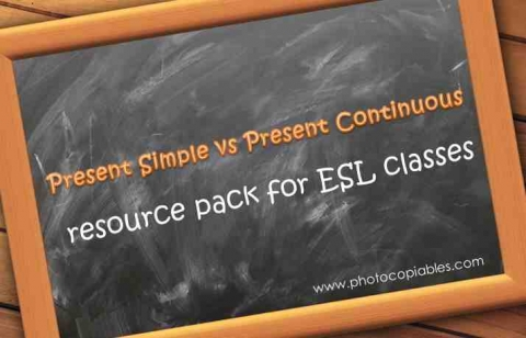 present simple vs present continuous resource pack