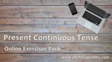 present continuous online exercises pack cover